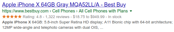 Rich snippets with structured data